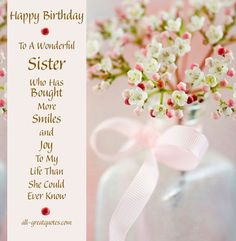 Happy Birthday Sister Sayings For Free Wishes Fantastic Wonderful Great Super Beautiful