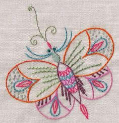 Beautiful embroidery of a colourful butterfly Butterfly Embroidery, Silk Ribbon Embroidery, Hand Embroidery Patterns, Embroidery Needles, Embroidery Applique, Cross Stitch Embroidery, Embroidery Designs, Embroidered Butterflies, Embroidery Techniques