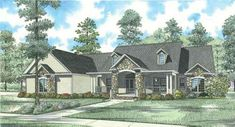 Style House Plans - 3602 Square Foot Home , 1 Story, 4 Bedroom and 3 Bath, 4 Garage Stalls by Monster House Plans - Plan 12-745