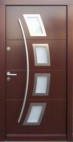 Model 006 Modern In Stock Wenge Finish Wood Exterior Door - Modern Home Luxury Home Door Design, Bedroom Door Design, Door Design Interior, House Front Design, Home Building Design, Wooden Front Door Design, Wooden Front Doors, Modern Exterior Doors, Wood Exterior Door