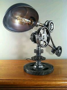 Industrial light made from recycled transmission gears.