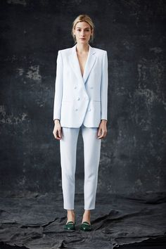 That frosty blue-white plus the green loafers=pure love.  Jenni Kayne | Fall 2014 Ready-to-Wear Collection | Style.com