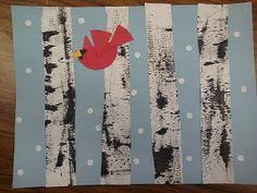 Fun and easy winter craft for kids!  Textured Winter Birch Trees and Cardinals