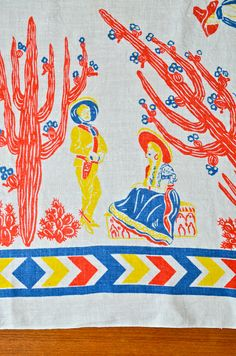 #Vintage Linen 50 Mexican Themed Tablecloth