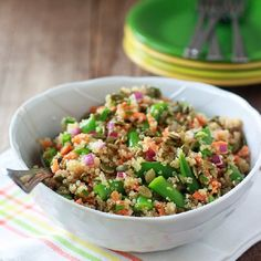 Quinoa Confetti Salad with Sugar Snap Peas & Toasted Pepitas.