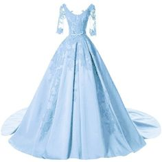 DINGZAN Satin Applique Ball Prom Quinceanera Dresses Wedding Reception... ($137) ❤ liked on Polyvore featuring dresses, gowns, blue ball gown, blue evening gown, blue prom gown, sky blue dress and quinceanera dresses
