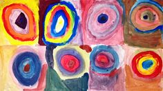1st Grade (brave!) Kandinsky colour mixing :) They are given only 3 primary colours and they come up with the others by colour mixing :)