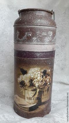 "Бидон ""Старый дневник"" - коричневый,бидон декупаж,бидон,ваза,ваза декупаж"