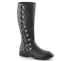 PLEASER MENS Medieval Renaissance Side Button Black Period Costume Knee Boots #Pleaser #CostumeBoots