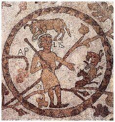 Aprile: scena pastorle con rappresentazione del segno zodiacale dell'Ariete. Otranto, mosaico pavimentale, 1163