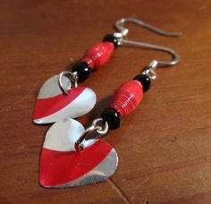 Upcycled Red Paper Bead and Diet Coke Heart by UpcycledStuff, $9.00