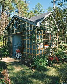 We have the ugliest garden shed out back... hope to cover it like so in order to make do with what we have and not waste.