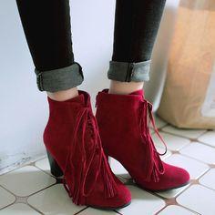 Shoespie Round Toe Fringe Lace Up Block Heel Booties