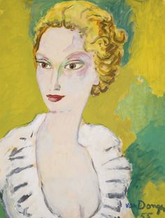 kees van dongen(cornelis theodorus maria 'kees' van dongen, 1877-1968), portrait de mme agnelli, 1955. oil on paper laid down on canvas, 65.2 x 40.1cm. sotheby's