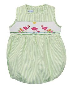 d07360c63e1 Green Flamingo Seersucker Smocked Bubble Romper - Infant  zulilyfinds