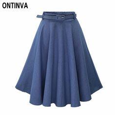 Blue A-Line Denim Midi Skirts With Belt Elastic Waist Pleated Jean Skirts Faldas Mujer Moda 2018 Light Blue One Size High Waisted Denim Skirt, Pleated Midi Skirt, Midi Skirts, Vintage Rock, Cheap Skirts, Skirt Belt, Lace Skirt, Denim And Lace, Denim Flares