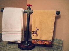 Bathroom Free Standing Double Hand Towel Rack  by DesertandIron, $52.00 Steampunk Bathroom, Pipe Decor, Man Room, Basement Remodeling, Hand Towels, Plumbing, Metal Art, House Design, Steel