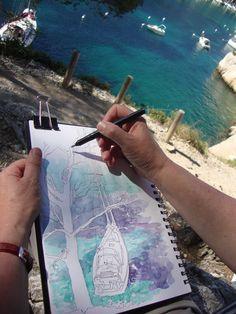 stages carnet de voyage dessin aquarellé  et, ou, gouache pour débutants et confirmés en France BRL: Faites plaisir en offrant un stage carnet de voyag...