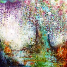 The Wishing Tree, mixed media painting on canvas © 2013 Laly Mille, willow, wysteria, riverside