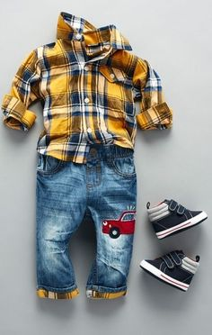 Baby fashion | Baby clothes | Baby Boys Long Sleeve Plaid Button-Down Shirt And Plaid Cuff Car Jeans Set | The Children's Place