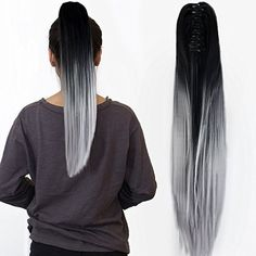 Neverland Beauty 22 Claw on Ombre Two Tone Synthetic Long Straight Ponytail Hair Extensions Natural Black to Silver Grey by Neverland Beauty -- Awesome products selected by Anna Churchill