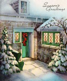 Leaded windows on Christmas house.