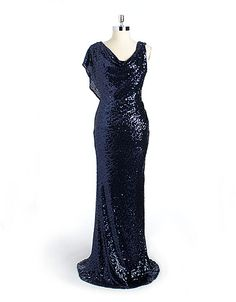 Draped sequin gown from Badgley Mischka! #lordandtaylor