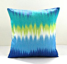 decorative pillow cover blue, turquoise, lime, jade, white abstract cushion cover 18 inch on Etsy, $32.86 CAD