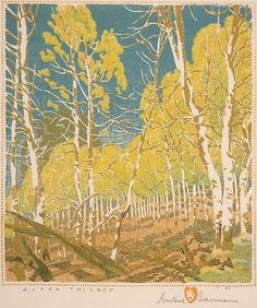"""""""Aspen Thicket"""" by Gustave Baumann. Color Woodblock Prints are available now to purchase at Karges Fine Art, Carmel, CA. Call for information! Philippine Art, Turkish Art, Tree Photography, Wood Engraving, Western Art, Woodblock Print, Artist Art, American Art, Art Museum"""