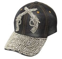 Showman Couture Blue Bling Denim Hat with Crystal Rhinestone Pink Ribbon