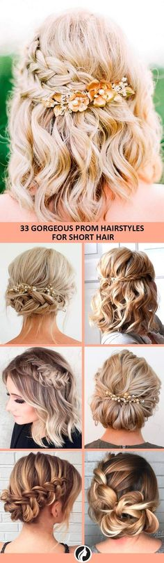 Looking for a simple, but beautiful hairstyle for your prom night? Here is a list with photos of the most trendy prom hairstyles for short hair. #PromHairstylesBraid