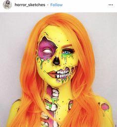 Zombie Make Up, Pop Art Zombie, Creepy Halloween Makeup, Amazing Halloween Makeup, Scary Makeup, Amazing Makeup, Sfx Makeup, Helloween Make Up, Pop Art Makeup