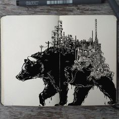 #154 The Weight of the World #art #drawing #illustration #animal #design #graphicdesign #moleskine #doodle #sketch #sketchbookart #sad #bear #factory #ecology #black #ink #traditional #Brazil #artist #_picolo