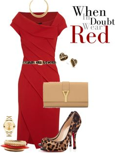 """Peep Toe... Red!"" by ccroquer ❤ liked on Polyvore - but diff shoes... I'd let the dress stand out and the shoes blend in more..."