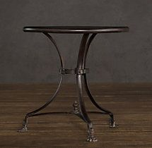 """24"""" 19th C. French Lion's Foot Brasserie Table (Set of 2), 24"""" diameter, 24"""" high"""