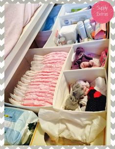 Baby change table organisation  Drawer lay out