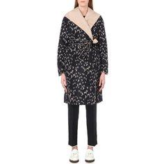 MAX MARA Adam reversible shell coat ($920) ❤ liked on Polyvore featuring outerwear, coats, navy, shell coat, lapel coat, maxmara coat, pattern coat and tie belt