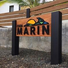 House logo design and carved wood sign, Casa Marin, Nosara Costa Rica Nosara, Carved Wood Signs, Home Logo, Outdoor Furniture, Outdoor Decor, Costa Rica, Islands, Southern, Logo Design