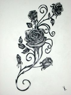 I want the vines twisting around my wrist  with a single rose bud on the top of my hand in my thumb hollow