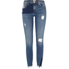 River Island Blue reworked denim Alannah skinny jeans ($84) ❤ liked on Polyvore featuring jeans, blue, skinny jeans, women, blue ripped skinny jeans, denim jeans, tall skinny jeans, skinny fit jeans and blue ripped jeans