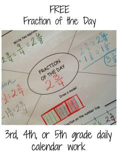 Daily fraction review for third, fourth, and fifth graders. This free printable works on drawing models, equivalent fractions, fractions on a number line, and solving problems. Simply add the fraction of the day and a problem for your students to solve and you are ready to go!