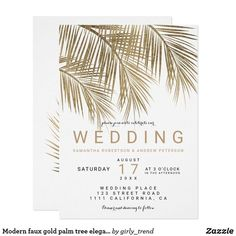 Wedding Theme Ideas Modern faux gold palm tree elegant wedding invitation - Modern simple faux gold palm tree watercolor with simple typography, a trendy and tropical wedding theme on palm tree leaf. Elegant Wedding Invitations, Sweet 16 Invitations, Save The Date Invitations, Wedding Invitation Cards, Save The Date Cards, Wedding Cards, Wedding Favors, Wedding Gifts, Beach Invitations