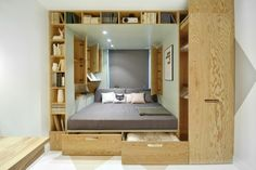 A Contemporary Bedroom For A Teenage Girl In Moscow. Small bedroom design with storage solutions Wooden Bedroom, Bedroom Decor, Bedroom Ideas, Bedroom Nook, Bedroom Furniture, Small Space Living, Small Spaces, Living Area, Living Room