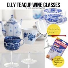 DIY Tea cup wine glasses