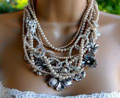 Rhinestone and pearls multi strand elegant evening or by LeCugine