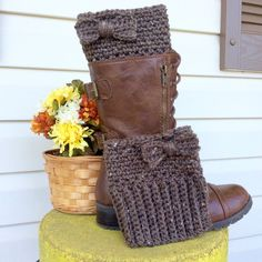 Bow Tie Boot Cuffs Crochet Boot Cuffs Boot by LoopyChicCrochet More