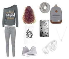 """""""The Grey Outfit"""" by princess-abueg ❤ liked on Polyvore featuring Mother, Converse, Herschel Supply Co., Links of London, Beats by Dr. Dre, Rianna Phillips and John Lewis"""