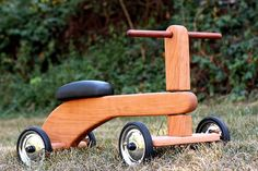 Beautiful wood trike, sanded to a silky smoothness, oiled and waxed with 100% non-toxic products, these toys are great for 1-3 year olds, and will last for generations.