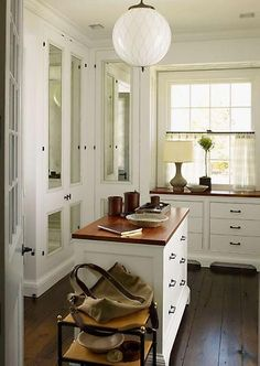 Gambrel - Walk-in closet with mirrored doors, white cabinets, butcher block . Dressing Room Closet, Closet Bedroom, Dressing Rooms, Master Closet, Dressing Area, Master Bedroom, Walk In Closet Design, Closet Designs, Placard Simple