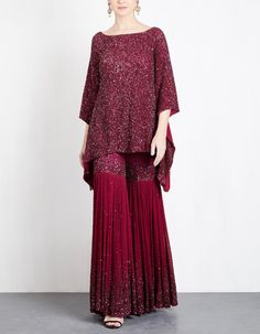 Ruby Sequins Sharara Set